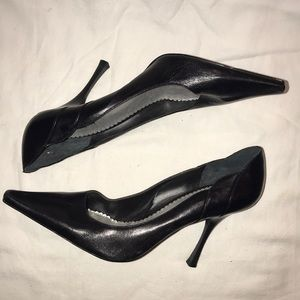 BCBG Classic Black Leather Heels Size 10